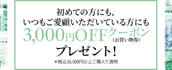 初めての方にも、いつもご愛顧いただいている方にも 3,000円OFFクーポン (お買い物券) プレゼント! *税込30,000円以上ご購入で適用