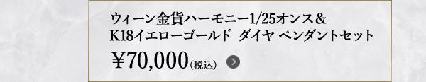ウィーン金貨ハーモニー1/25オンス&K18イエローゴールド ダイヤペンダント セット ¥70,000(税込)
